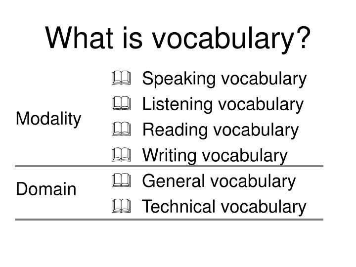 What is vocabulary?