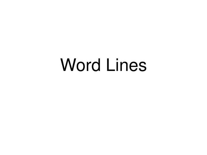 Word Lines