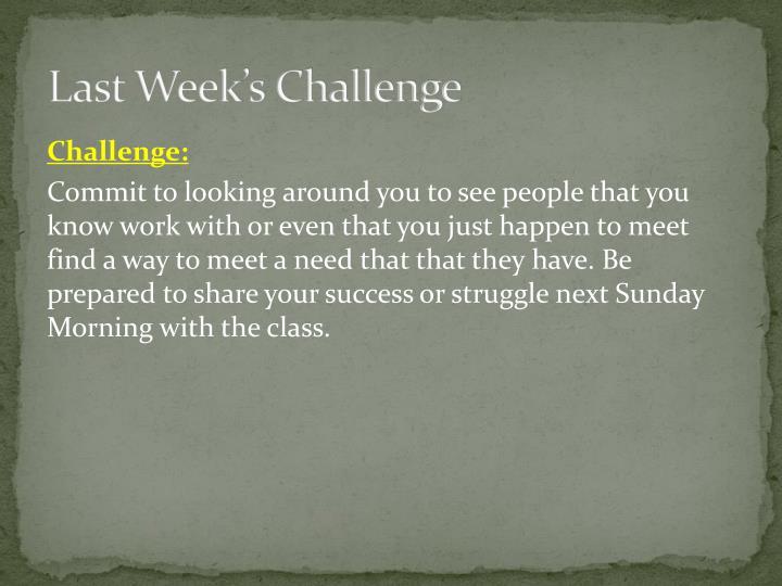 Last Week's Challenge