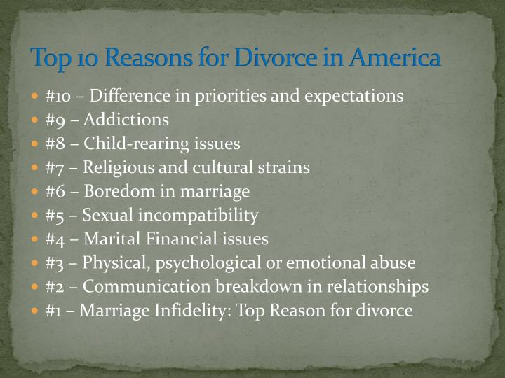 Top 10 Reasons for Divorce in America