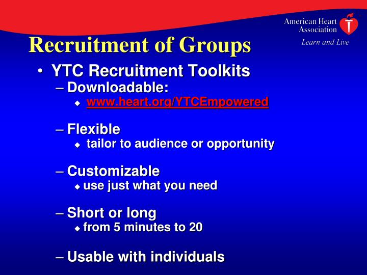 Recruitment of Groups