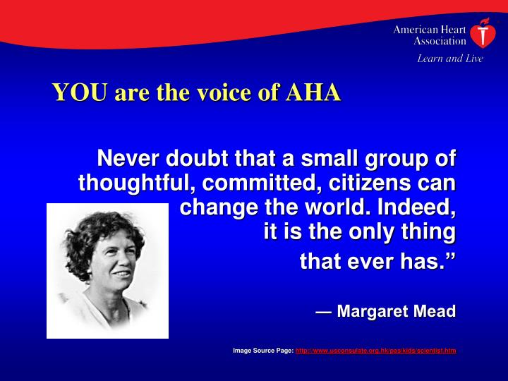YOU are the voice of AHA