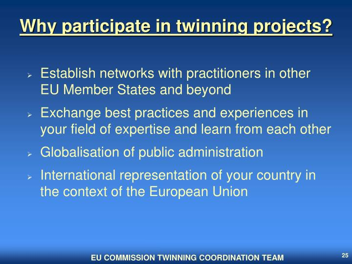 Why participate in twinning projects?