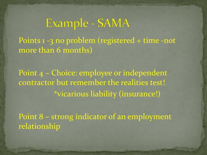 Example - SAMA