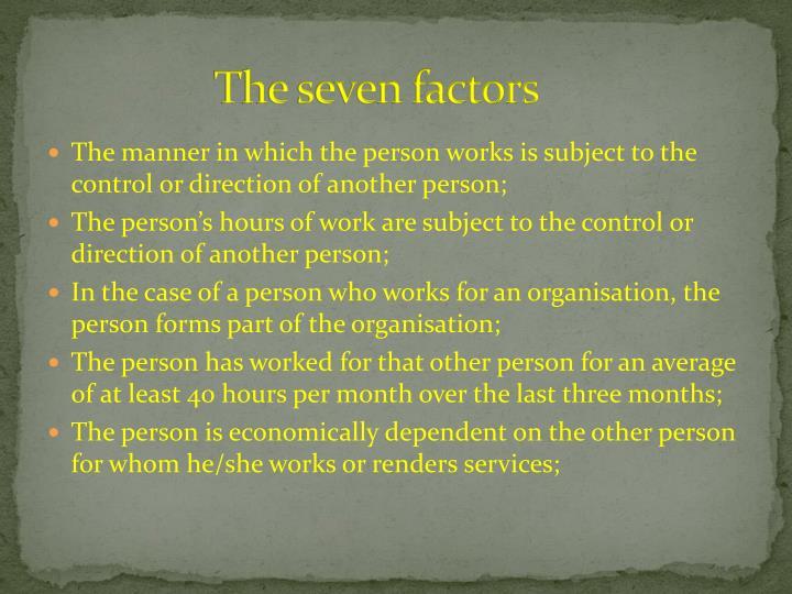 The seven factors