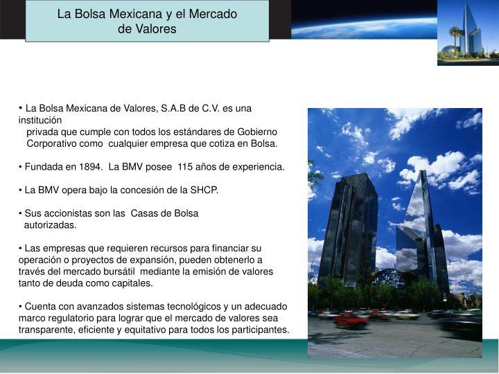 La Bolsa Mexicana y el Mercado