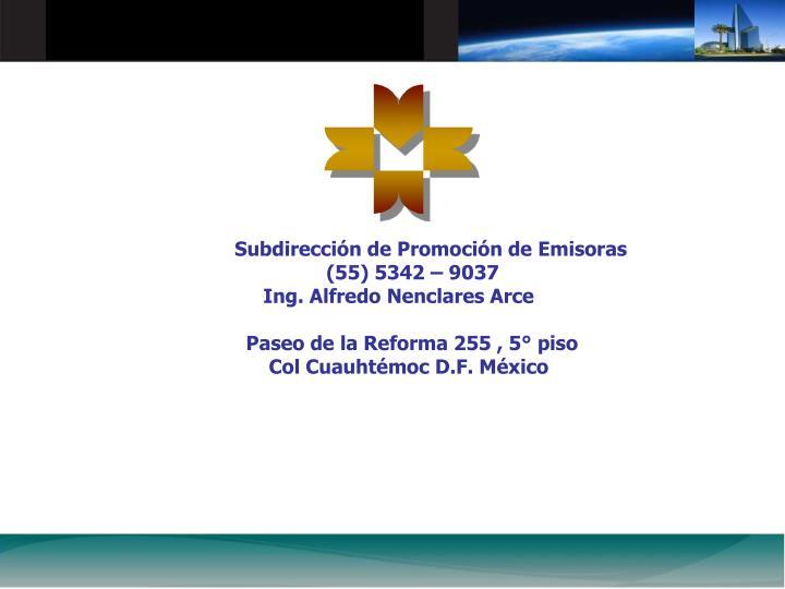 Subdireccin de Promocin de Emisoras