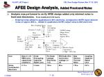 afee design analysis added front end noise