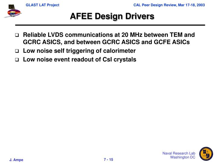AFEE Design Drivers