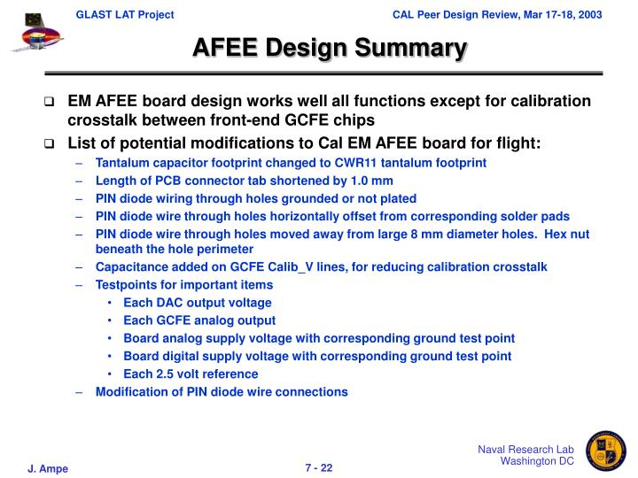 AFEE Design Summary