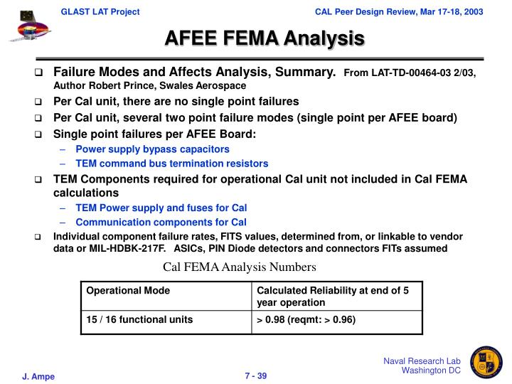 AFEE FEMA Analysis