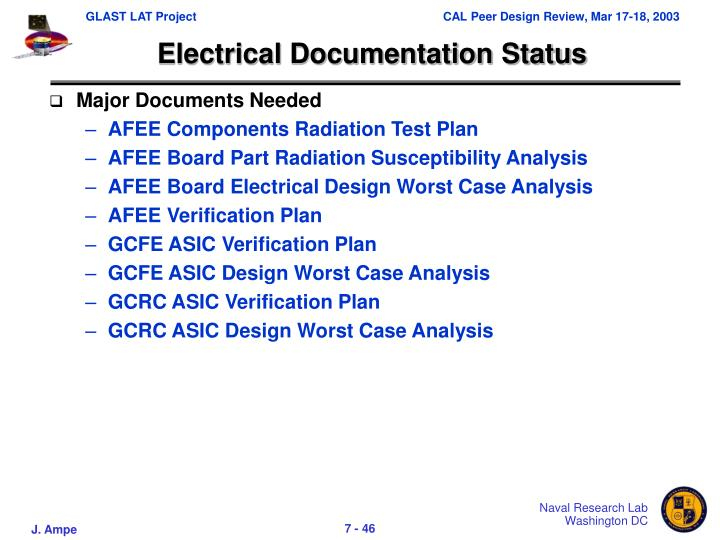 Electrical Documentation Status