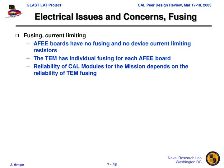 Electrical Issues and Concerns, Fusing