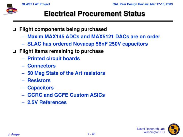 Electrical Procurement Status