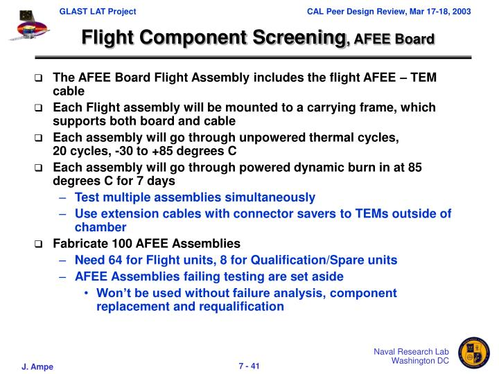 Flight Component Screening