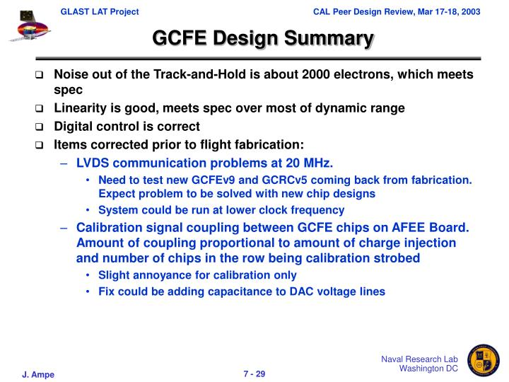 GCFE Design Summary