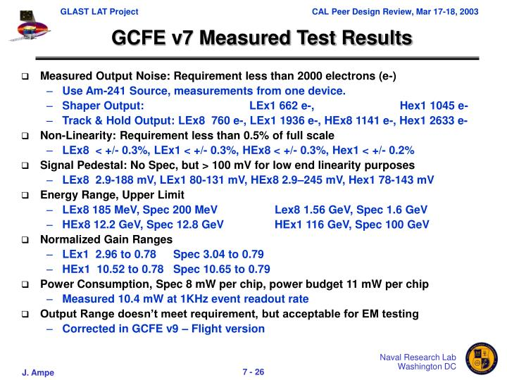 GCFE v7 Measured Test Results