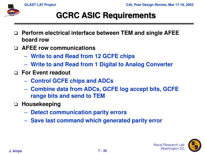 GCRC ASIC Requirements