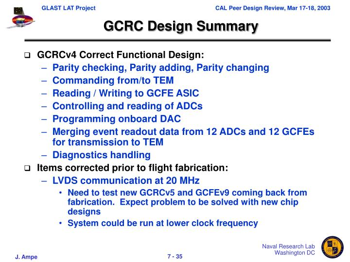 GCRC Design Summary