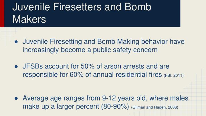Juvenile Firesetters and Bomb Makers