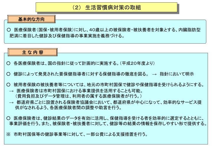 (2) 生活習慣病対策の取組