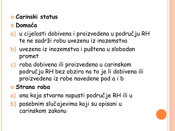 Carinski status