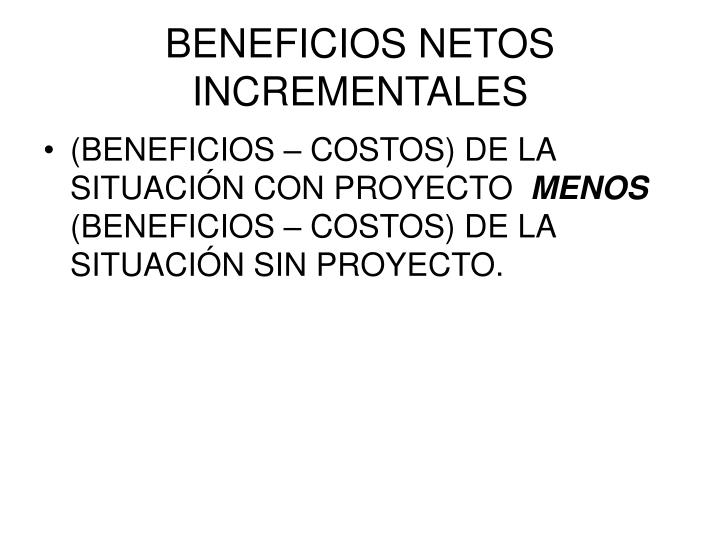BENEFICIOS NETOS INCREMENTALES
