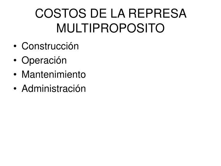 COSTOS DE LA REPRESA MULTIPROPOSITO