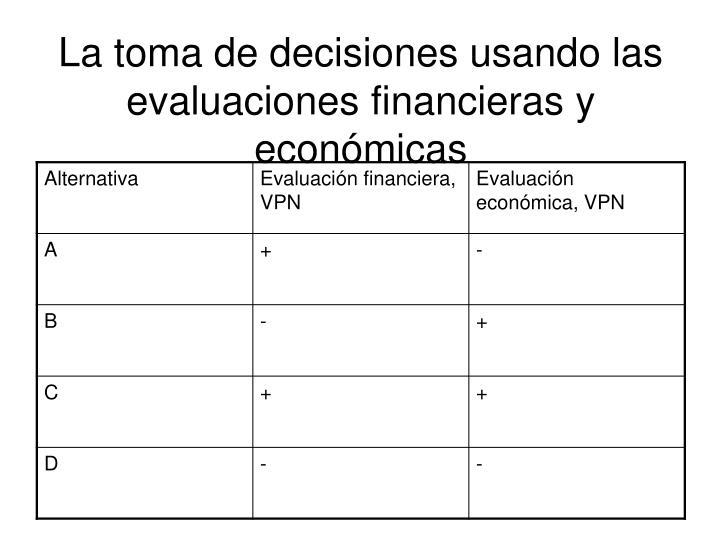 La toma de decisiones usando las evaluaciones financieras y económicas