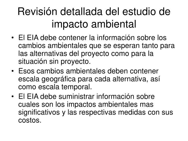 Revisión detallada del estudio de impacto ambiental