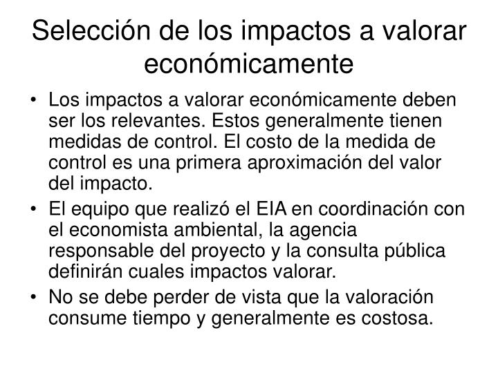 Selección de los impactos a valorar económicamente