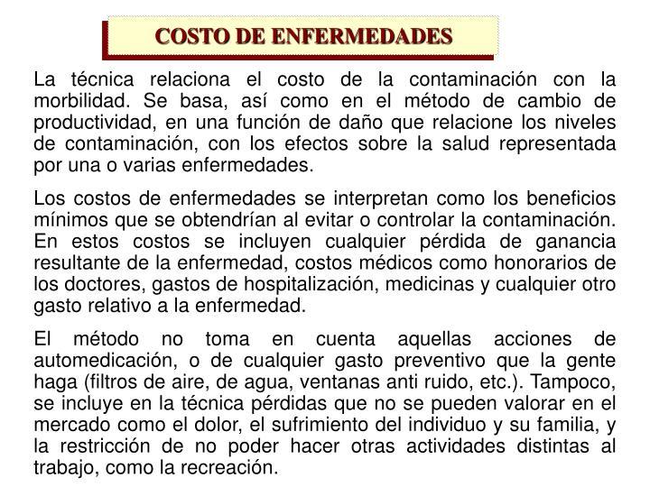 COSTO DE ENFERMEDADES