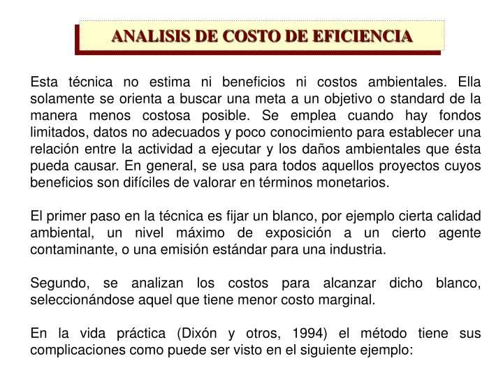 ANALISIS DE COSTO DE EFICIENCIA