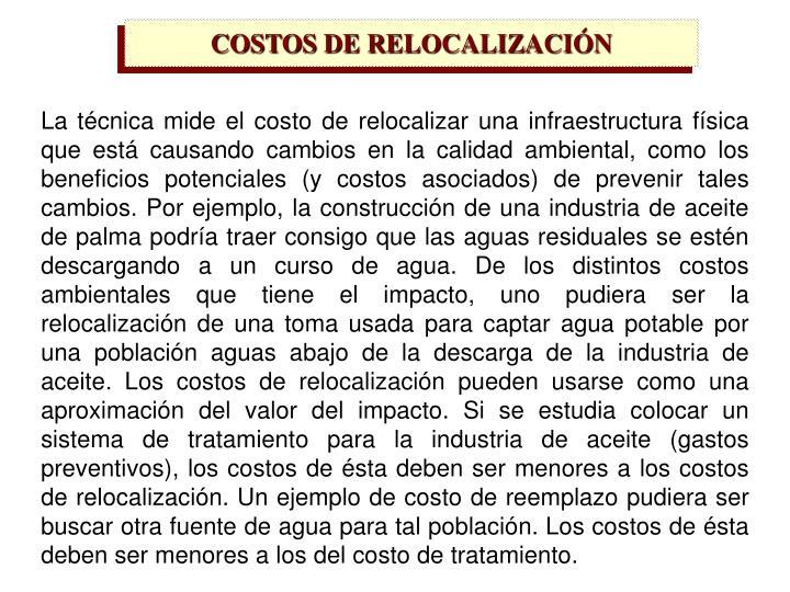 COSTOS DE RELOCALIZACIÓN