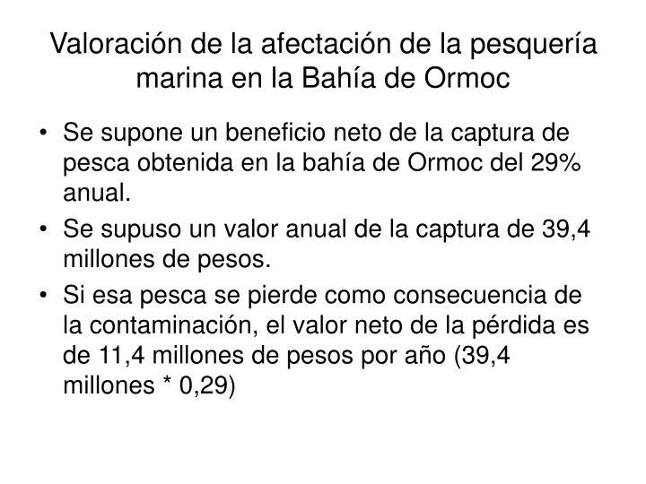 Valoración de la afectación de la pesquería marina en la Bahía de Ormoc