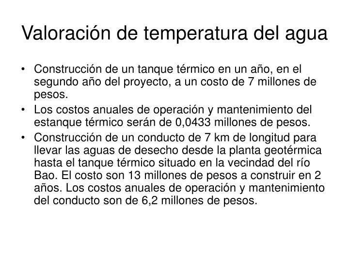 Valoración de temperatura del agua