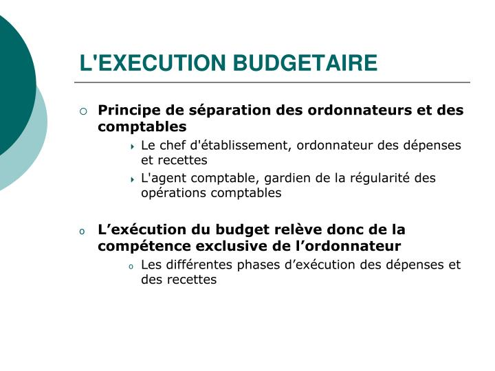 L'EXECUTION BUDGETAIRE