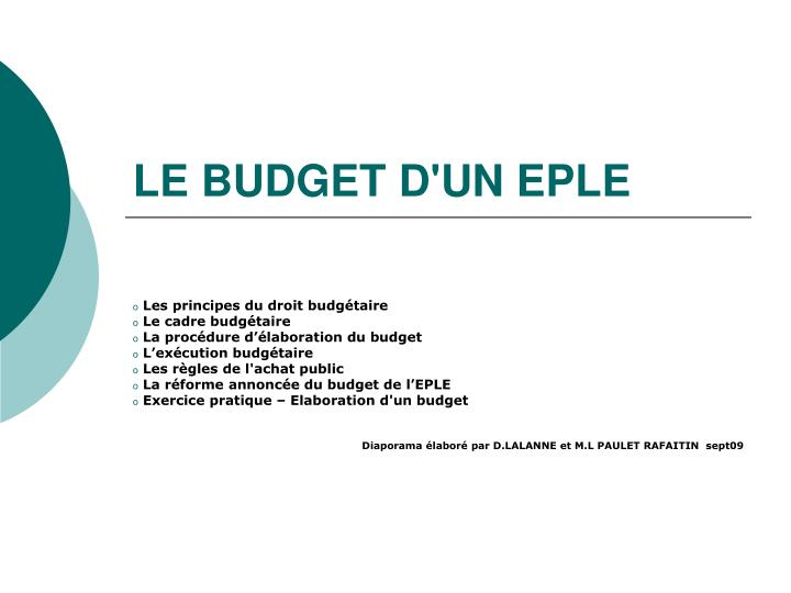 LE BUDGET D'UN EPLE