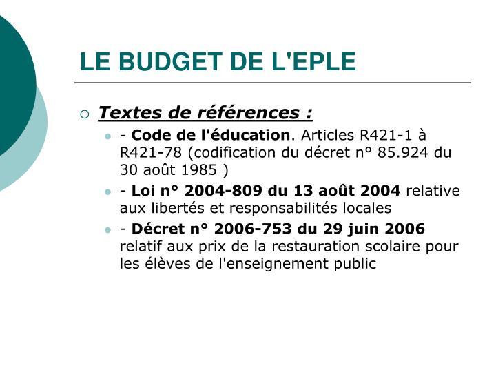 LE BUDGET DE L'EPLE