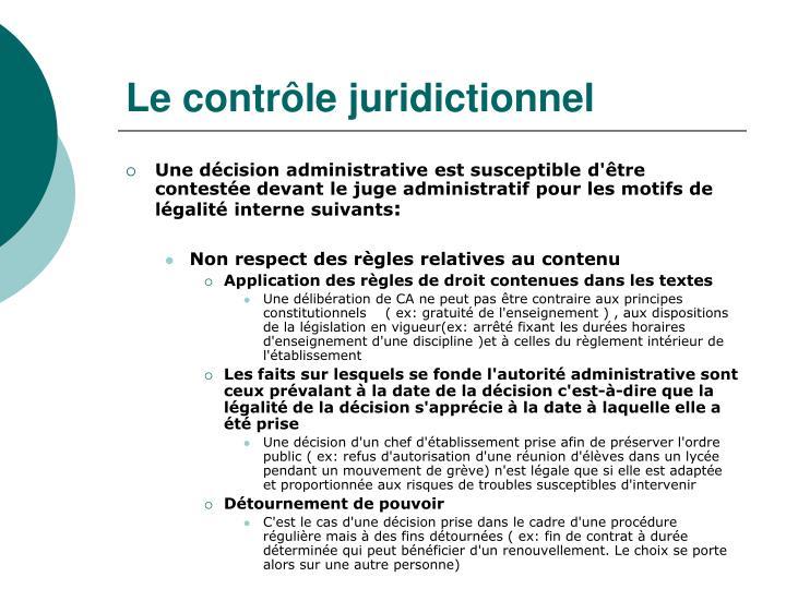 Le contrôle juridictionnel
