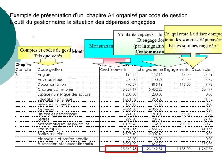 Exemple de présentation d'un  chapitre A1 organisé par code de gestion