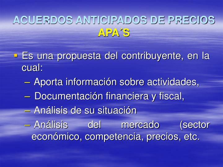 ACUERDOS ANTICIPADOS DE PRECIOS