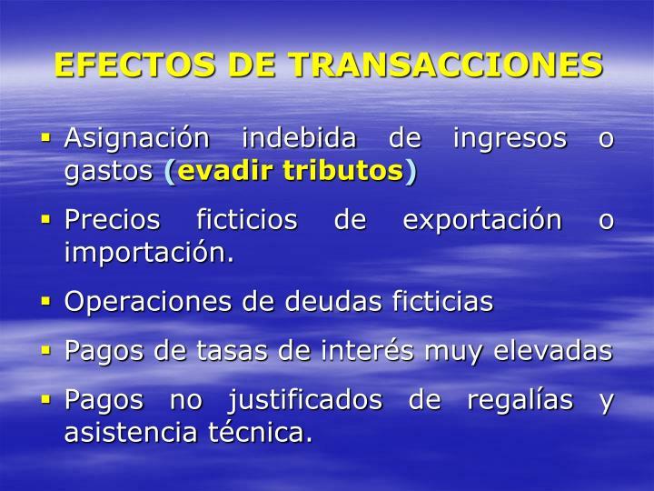 EFECTOS DE TRANSACCIONES