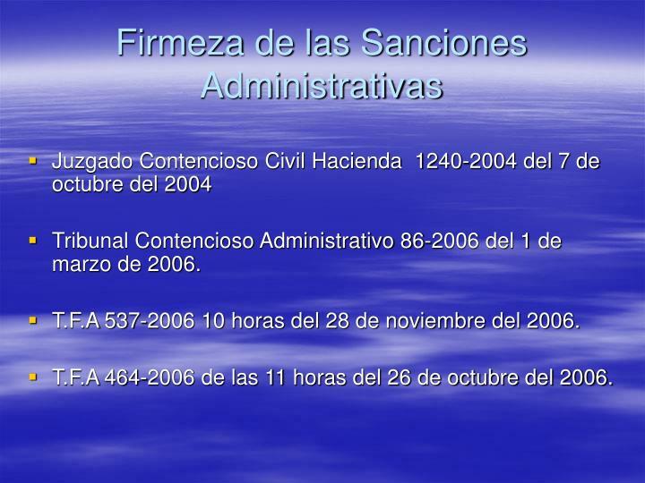 Firmeza de las Sanciones Administrativas