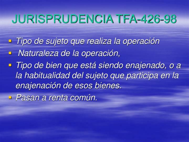 JURISPRUDENCIA TFA-426-98