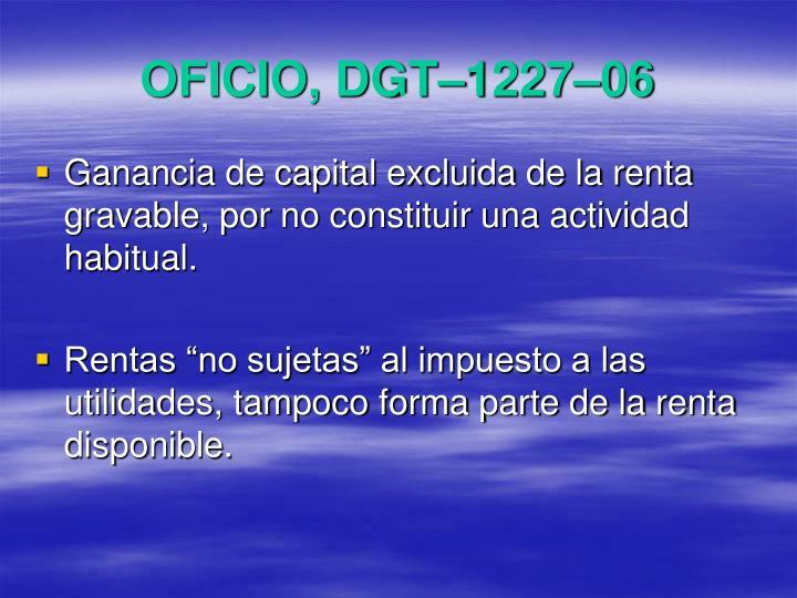 OFICIO, DGT–1227–06