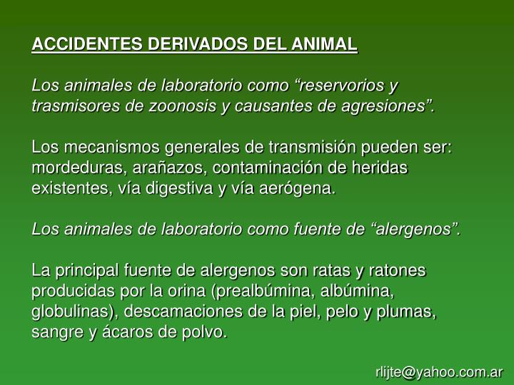 ACCIDENTES DERIVADOS DEL ANIMAL
