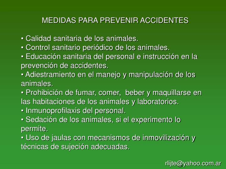 MEDIDAS PARA PREVENIR ACCIDENTES