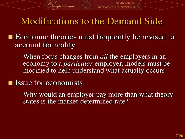 Modifications to the Demand Side