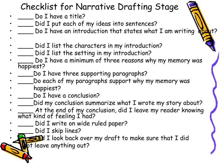Checklist for Narrative Drafting Stage